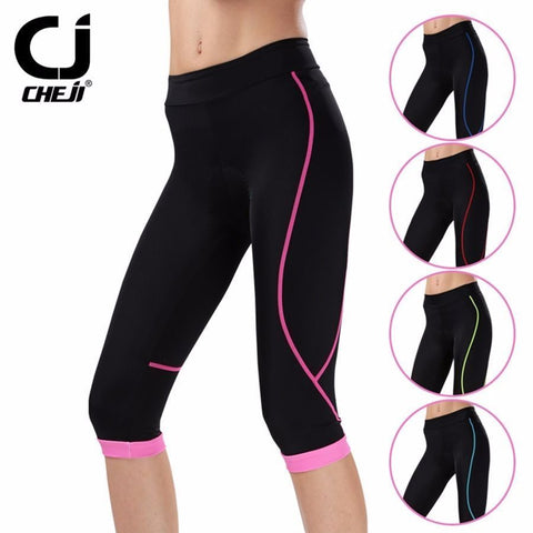 CHEJI Cycling Padded Knickers / Shorts For Women Bike Padded Shorts Coolmax 3/4 Cycling Short Pants Tights MTB Cropped Trousers