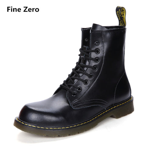 Fine Zero UNISEX Cowhide Split Winter Warm Vintage Motorcycle Boots Male Fur Plush Martin Shoes Men Snow Ankle High Top Boots