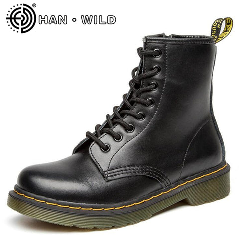 100% Genuine Leather Men Martin Boots All Season Motorcycle Boots Men Ankle Boots Cow Split Shoes Couple Boots botas feminina