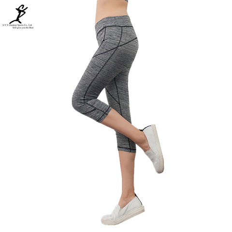 Sports Women Running Cropped Pants New Yoga And Gym Leggings Hot Workout Fitness Tights