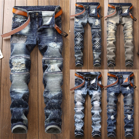 2018 New Fashion Hot High Quality Biker Jeans Men Vintage Hole Ripped Denim Jeans Male Washed Straight Slim Retro Pleated Jeans