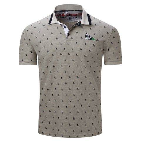 New 2018 Summer Polo Shirt Men Cotton Fashion Sailing Dots Print