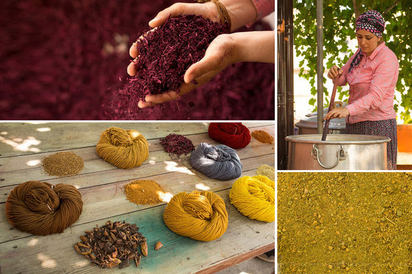 Urth Yarns in southeastern Turkey hand-dyes its Harvest yarn with roots, fruits and nuts