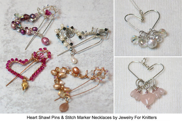 Heart Shawl Pins & Heart Stitch Marker Necklaces from Jewelry for Knitters