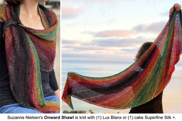 Onward Shawl designed by Suzanne Nielsen, knit with a single Lux Blanx