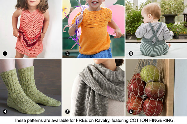 Six free patterns from Ravelry featuring fingering-weight cotton yarn