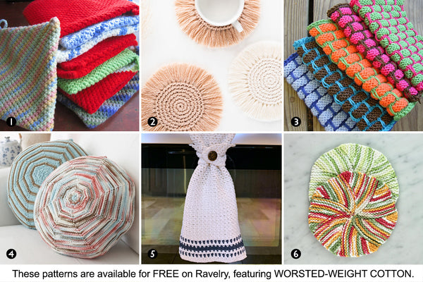 Six free patterns from Ravelry featuring worsted-weight cotton yarn