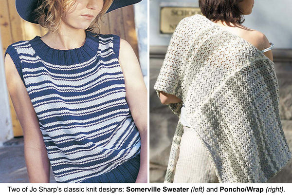 Sommerville Sweater and Poncho/Wrap designed by Jo Sharp, hand knit in cotton.