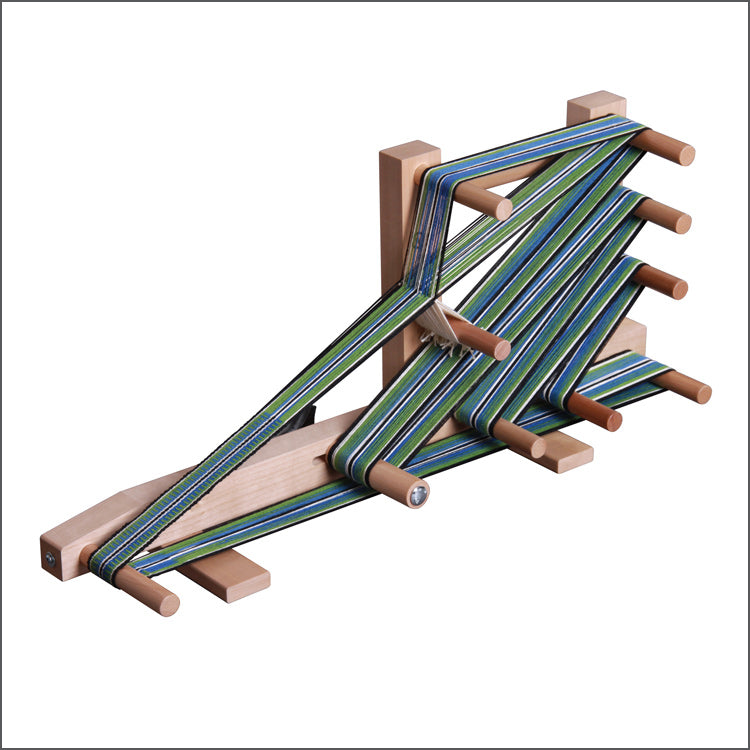 Inkle Loom from Ashford Looms in use against white background - can weave bands up to 138 inches long