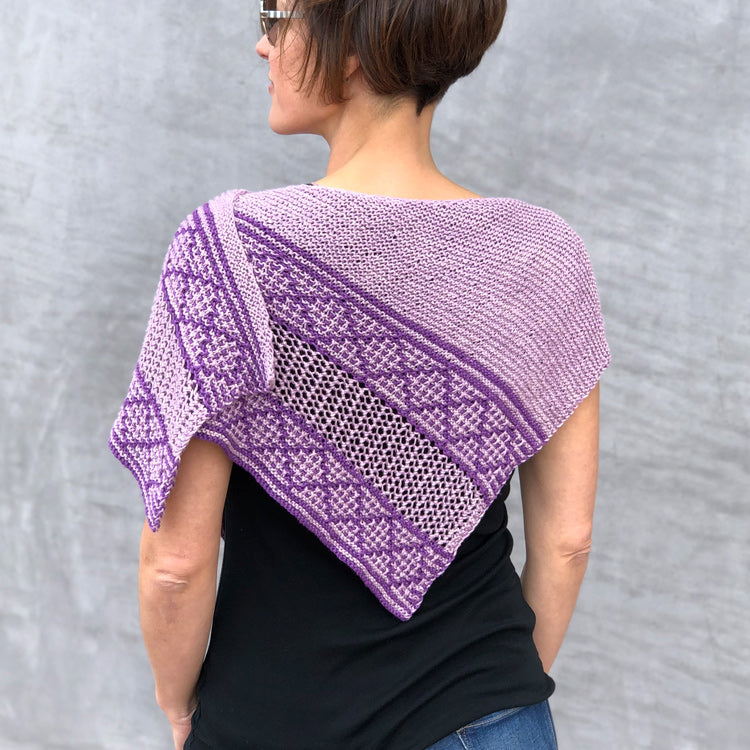 Back view of woman wearing RefleXion Shawl designed by Ariane Gallizzi, knit with Jo Sharp Soho Summer DK Cotton - Bellatrista Menta
