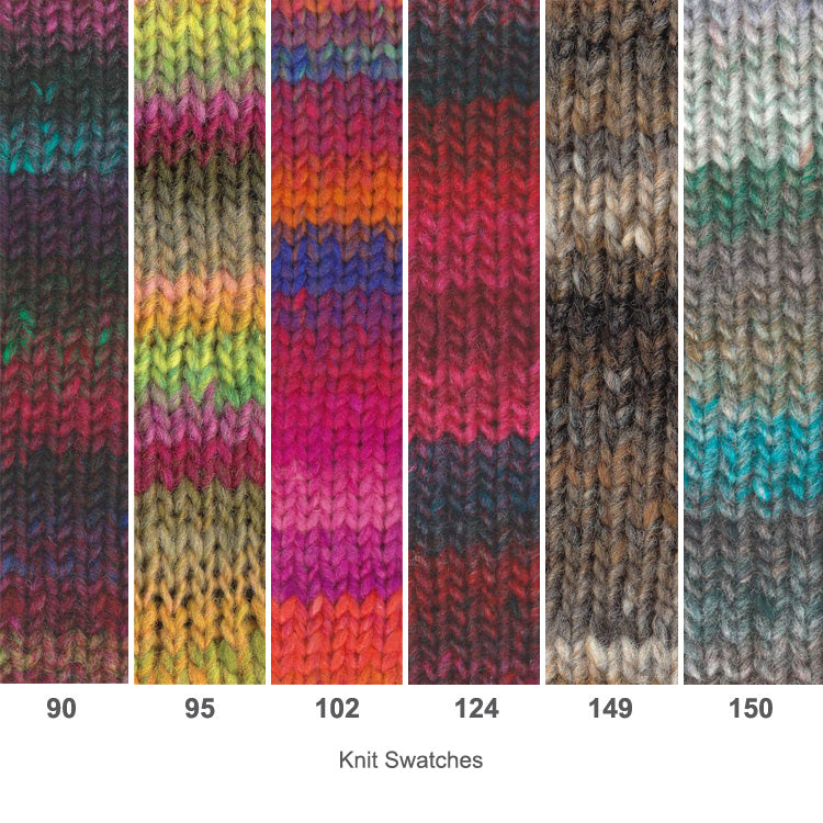 Multiple swatches of Noro's Kureyon Worsted/Bulky 100% Wool Yarn in various colors