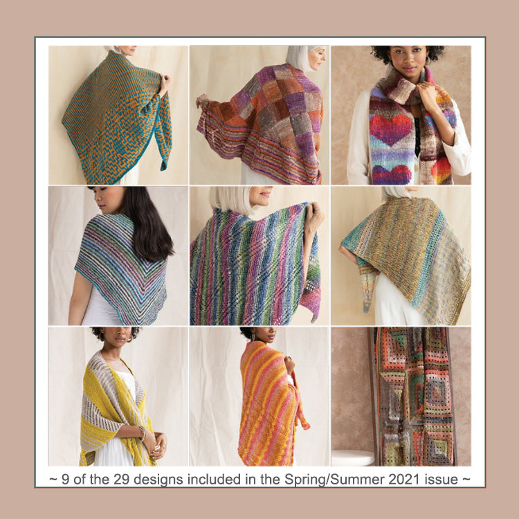 Multiple images of designs from the 18th issue of Noro Magazine - Spring/Summer 2021 issue