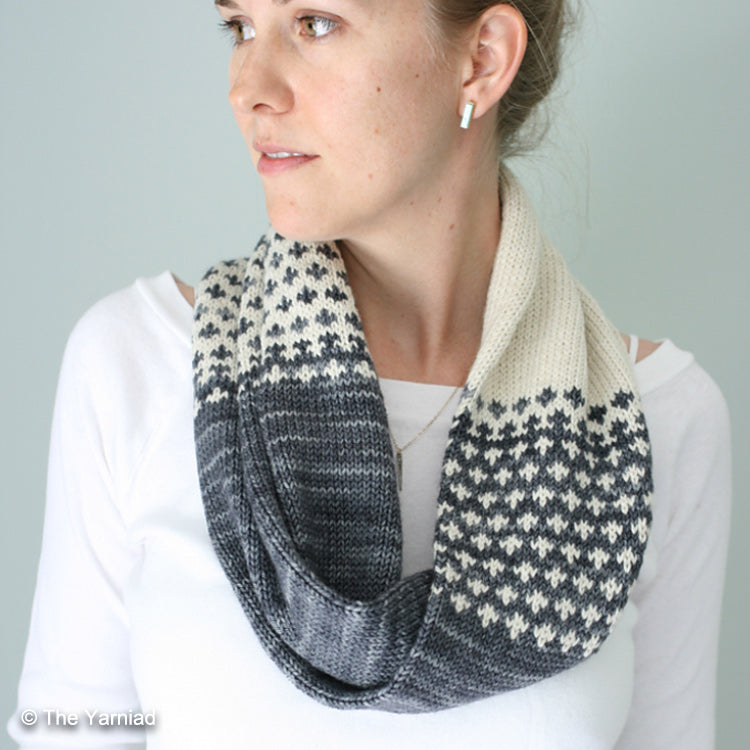 "Woman wearing Cruces Cowl from ""The Yarniad"" knit with DK weight yarn"