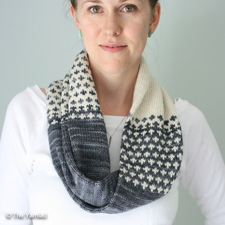 "Alternate angle of woman wearing Cruces Cowl from ""The Yarniad"" knit with DK weight yarn"
