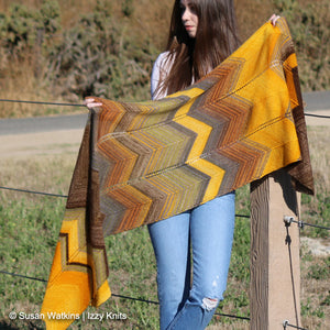 Bommer Canyon Wrap, Designed by Susan Watkins featuring Urth Yarns Monokrom and Uneek Fingering