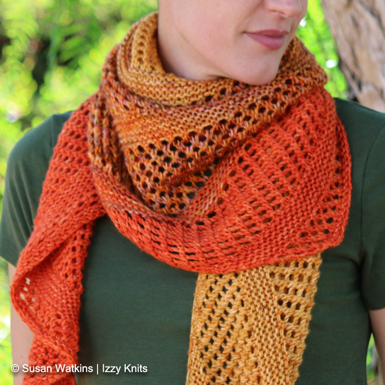 Woman wearing Izzy's California Fade Shawl designed by Ariane Gallizzi - Izzy Knits Exclusive Knit Pattern
