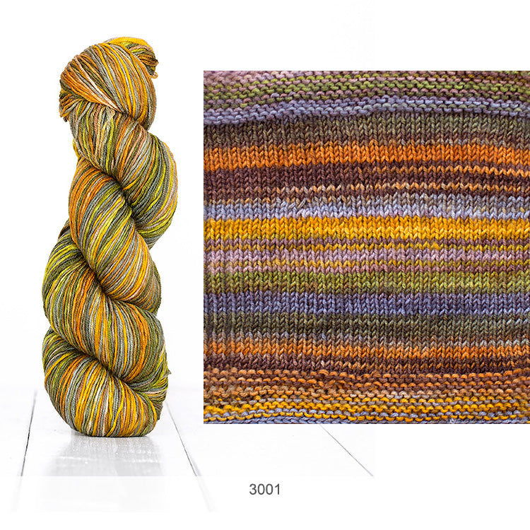 Urth Yarn's Uneek Fingering in 25 vibrant, self-striping colors.