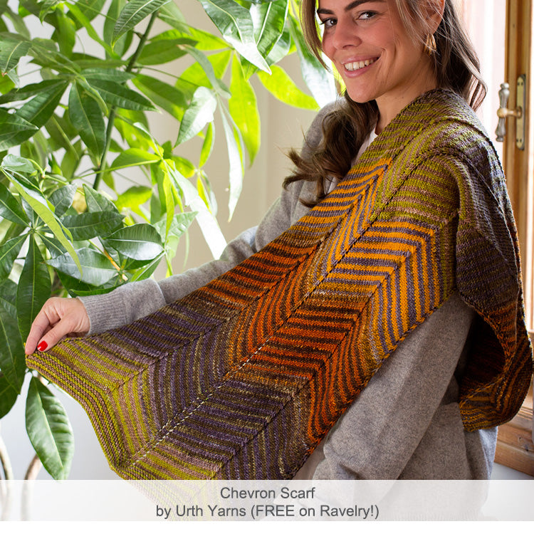 Urth Yarn's Chevron Scarf, knit in Uneek Fingering.