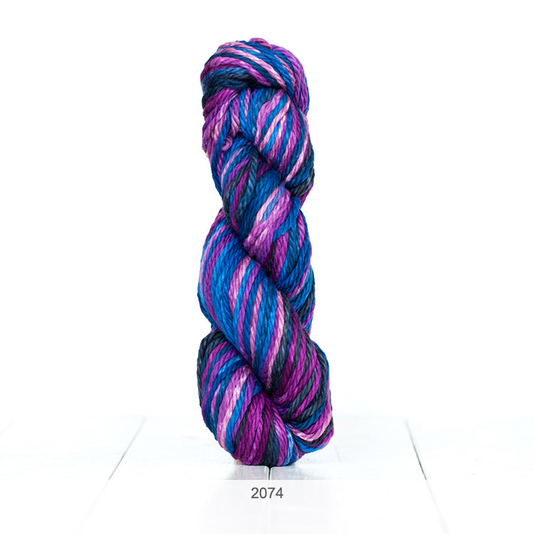 One skein of Urth Galatea Self-Striping Bulky 100% Cotton Yarn in color #2074