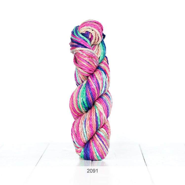 One skein of Urth Galatea Self-Striping Bulky 100% Cotton Yarn in color #2091
