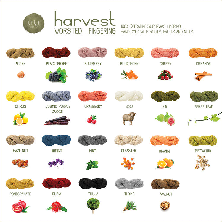 Urth Yarn's Harvest Worsted Dyed with Roots, Fruits, and Nuts