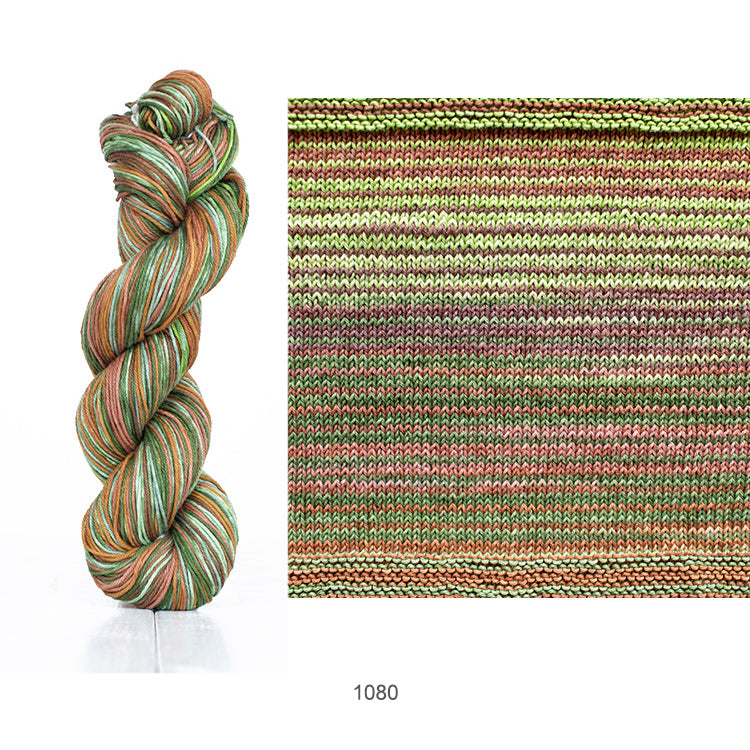 One skein and knit sample of Urth's Uneek Cotton DK yarn in color #1080