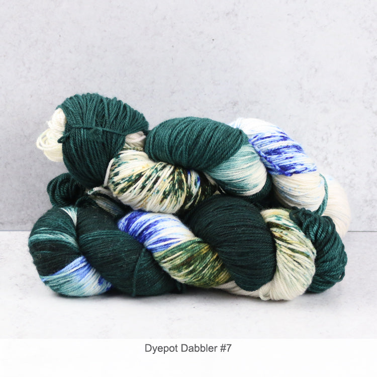 2 skeins of Zen Yarn Garden's Superfine Fingering - Dyepot Dabbler Series - in color #7