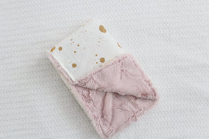Mini Blanket - Gold Splatter, Pink Faux Fur