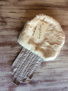 Jellyfish Lovey - Gray, Ivory Faux Fur