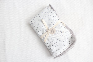 Mini Blanket - Black and White Twinkles, Stone Faux Fur