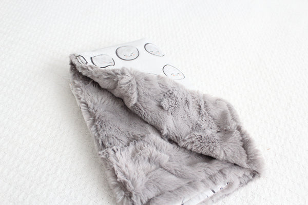 Mini Blanket - Happy Moons, Stone Faux Fur