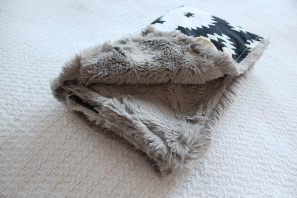 Mini Blanket - Black and White Tribal, Stone Faux Fur