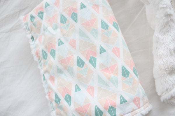 Mini Blanket - Pastel Geometric, Ivory Faux Fur