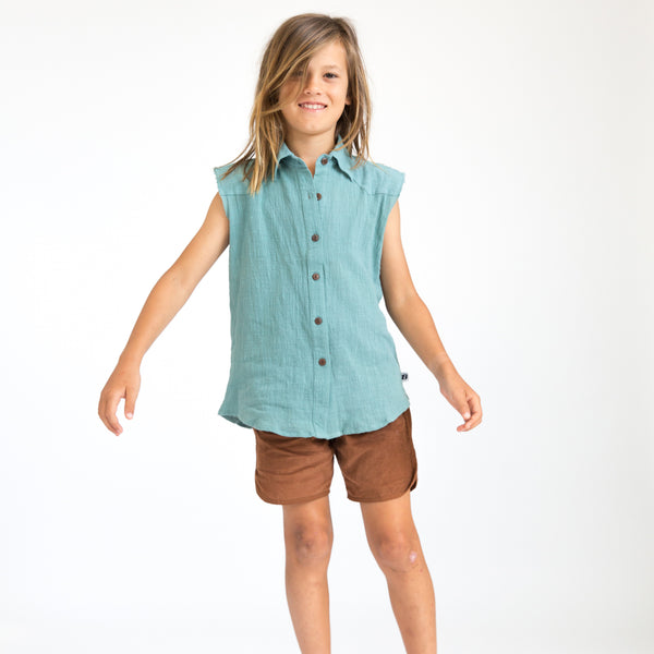 Young boy wearing brown draw string cotton corduroy shorts with light blue button top