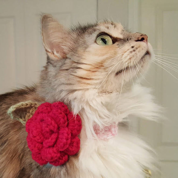 Crocheted Flower Cat Collar