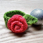Hand-knit Rose Cat Collar