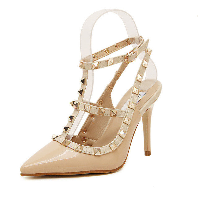 31d2aaa46370 New Summer Fashion Lady Sexy Women Pumps Pointed Toe Sandals Slingback  Studded T-Strap Rivet