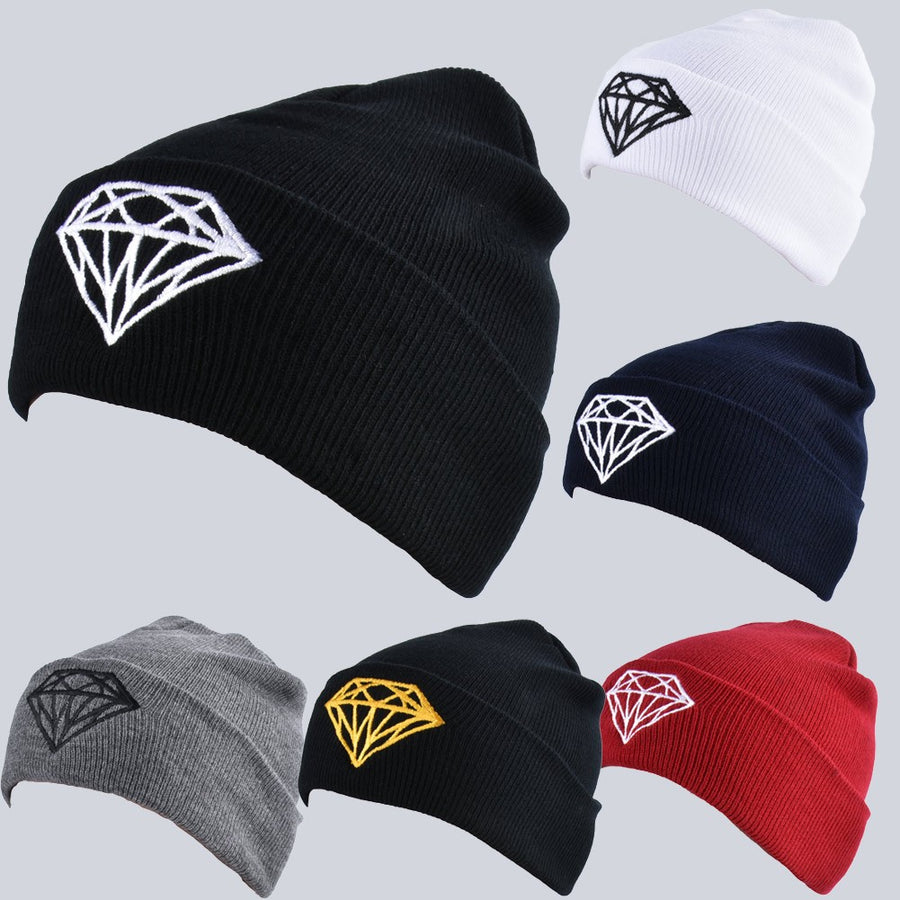 2c65126d859 Unisex Women Men Knitted Hat Diamond Ribbed Slouchy Baggy Casual Sport Warm  Winter Kullies Beanies