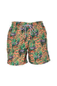Hippopotamus Orange Swim Trunks