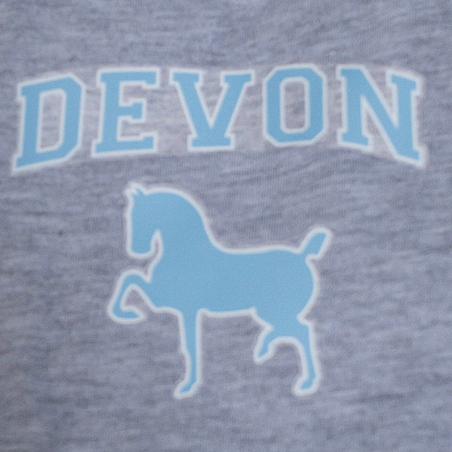 Grey Cotton Dog T-Shirt with Devon Screenprint  Logo