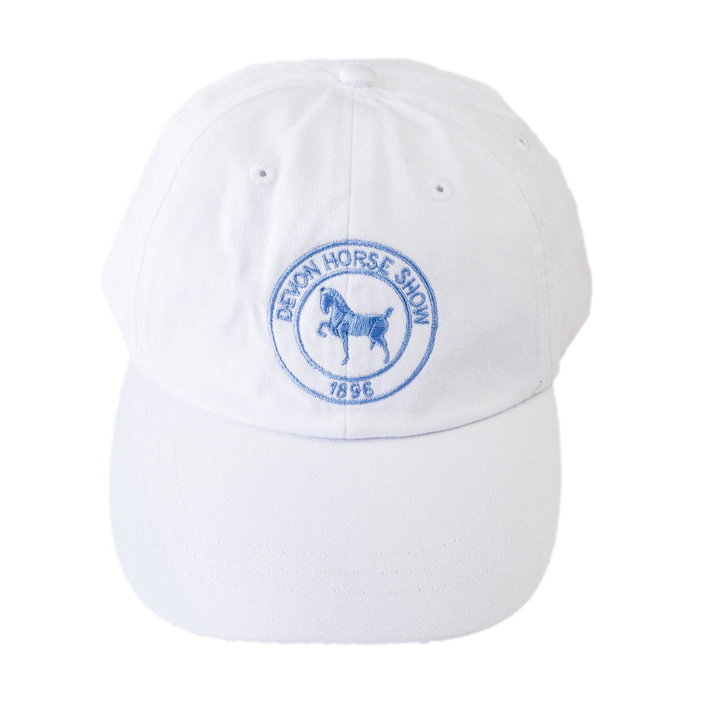 Twill Logo Baseball Cap -White with Light Blue