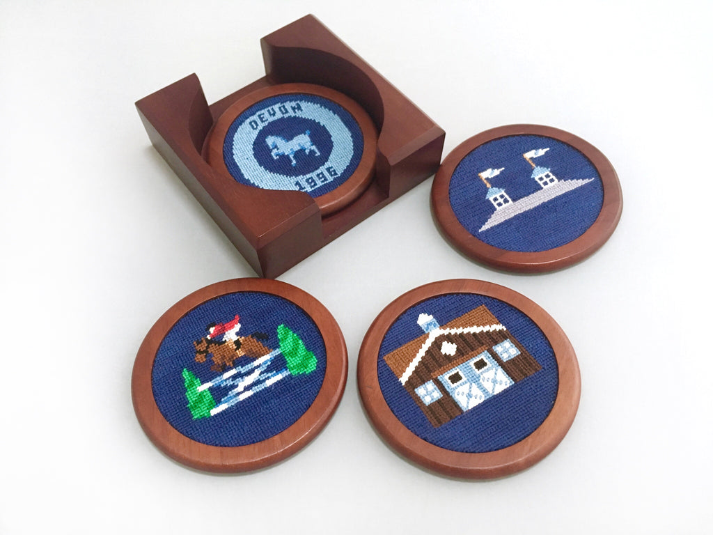 Smathers & Branson Needlepoint Coaster Set- Devon Icons