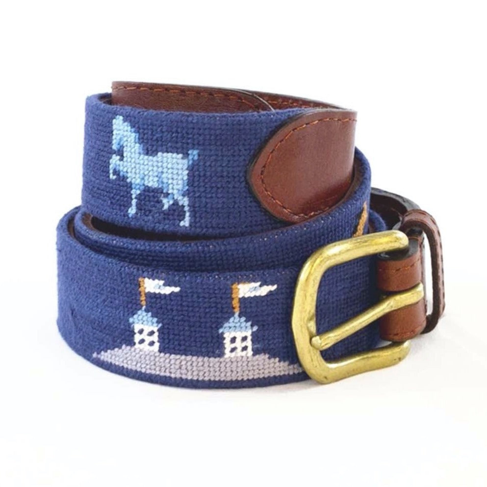Smathers & Branson Needlepoint Belt- Navy