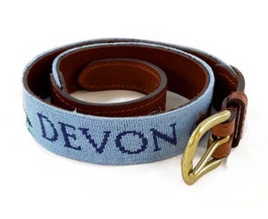 Smathers & Branson Needlepoint Belt -Light Blue