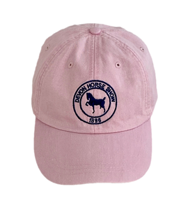 Twill Baseball Cap- Pink with Navy Logo