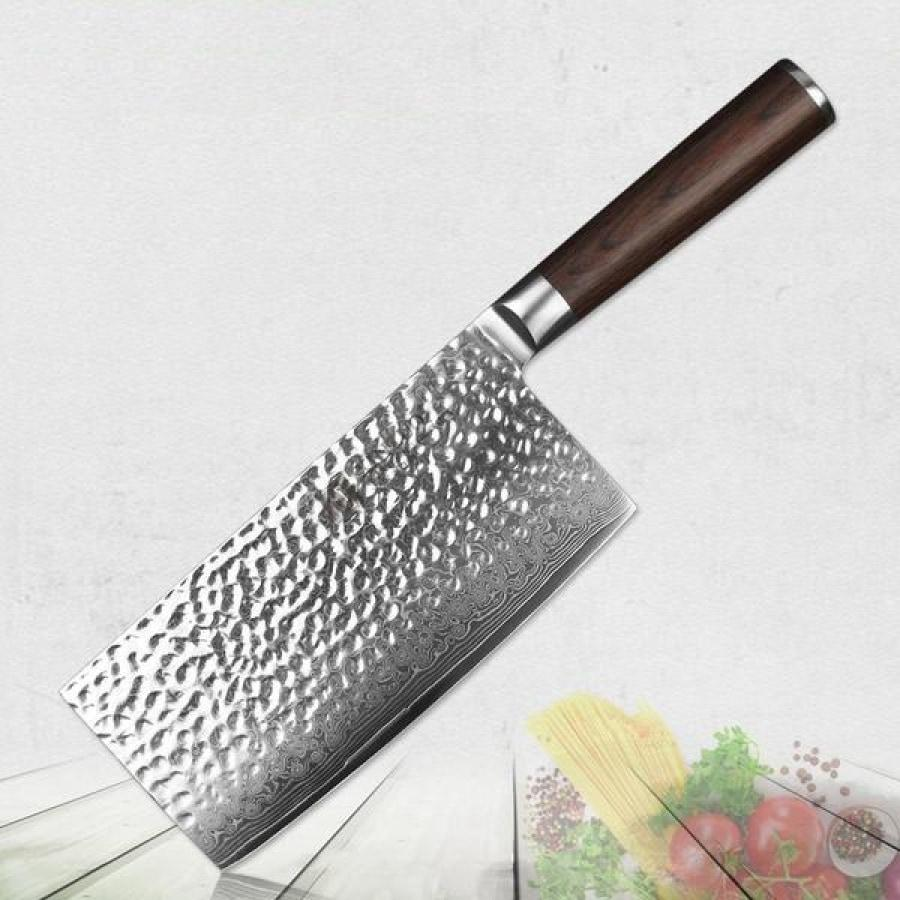 67-Layer Damascus Steel Cleaver - Chop Through Bones with Ease-Kioro Knives