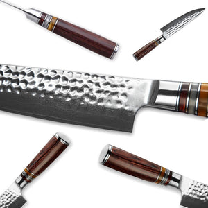 Gorgeous Japanese Chef Knife - Intricate Blade Pattern and Wooden Handle-Kioro Knives