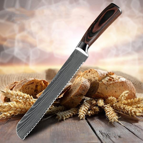 Japanese Stainless Steel Bread Knife - Perfect Slices Without Smashing The Bread-Kioro Knives