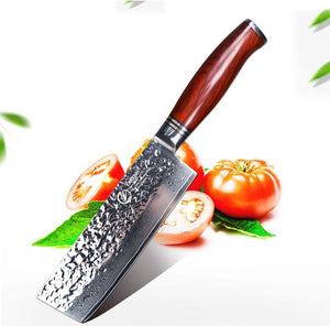 73-Layer Damascus Steel Cleaver - Chop Cleanly Through Meat and Bones