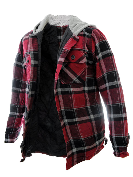 YOUNG USA® - Men's Jacket with Hood, Plaid Flannel